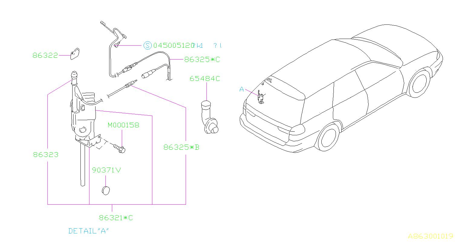 Subaru Antenna Assembly Radio Auto For Wagon