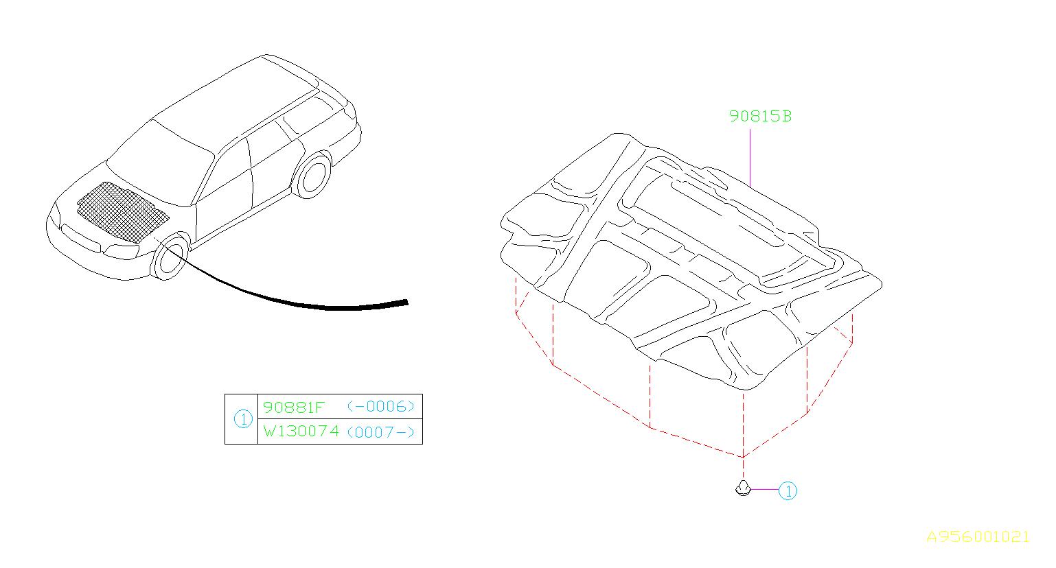 Subaru Baja Clip Insulator Hood Interior