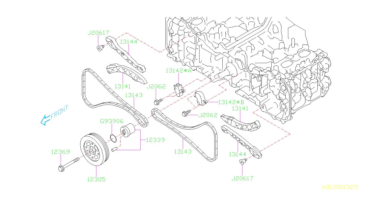Subaru Outback Guide Timing Chain Belt Camshaft Engine