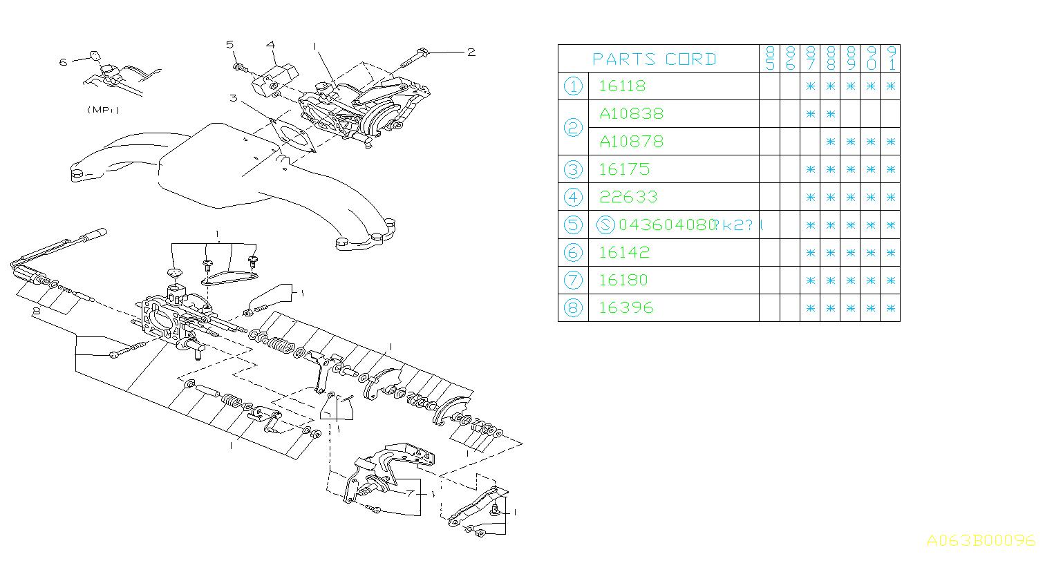 Subaru Xt Sensor Assembly Throttle Chamber Engine