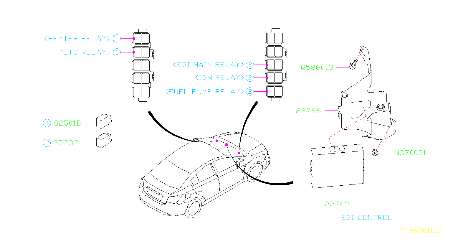 Subaru Impreza Relay Sensor Engine Electrical