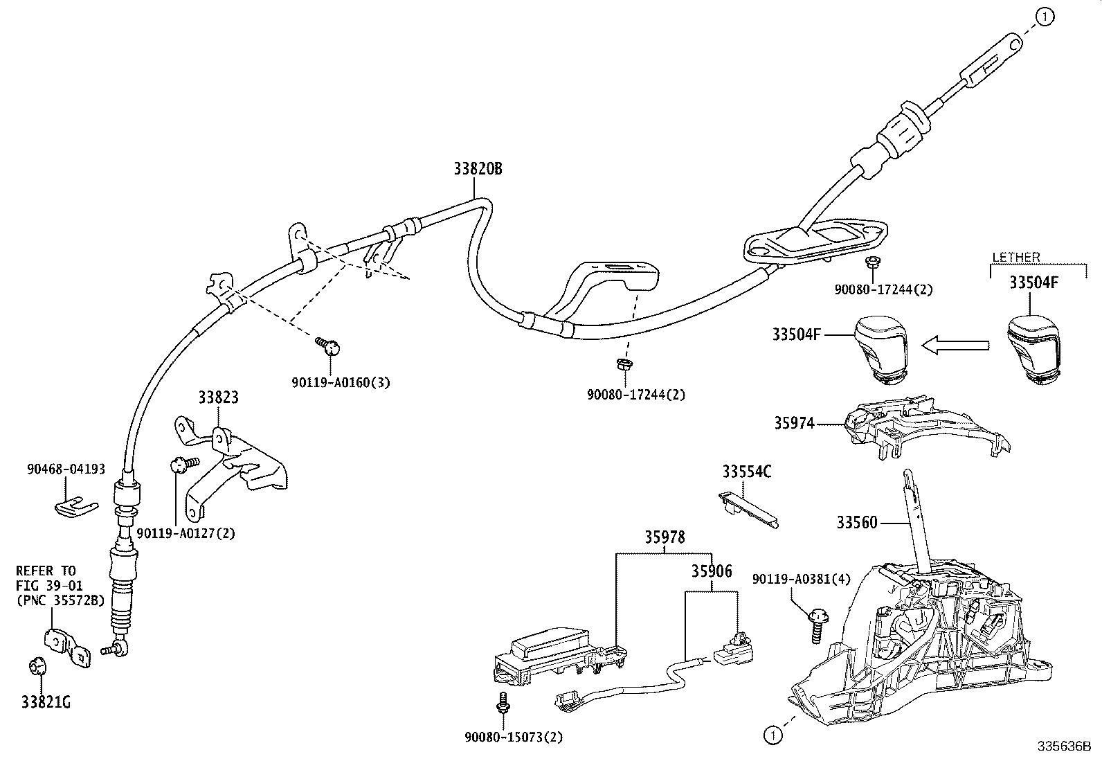 Toyota Camry Automatic Transmission Shift Lever