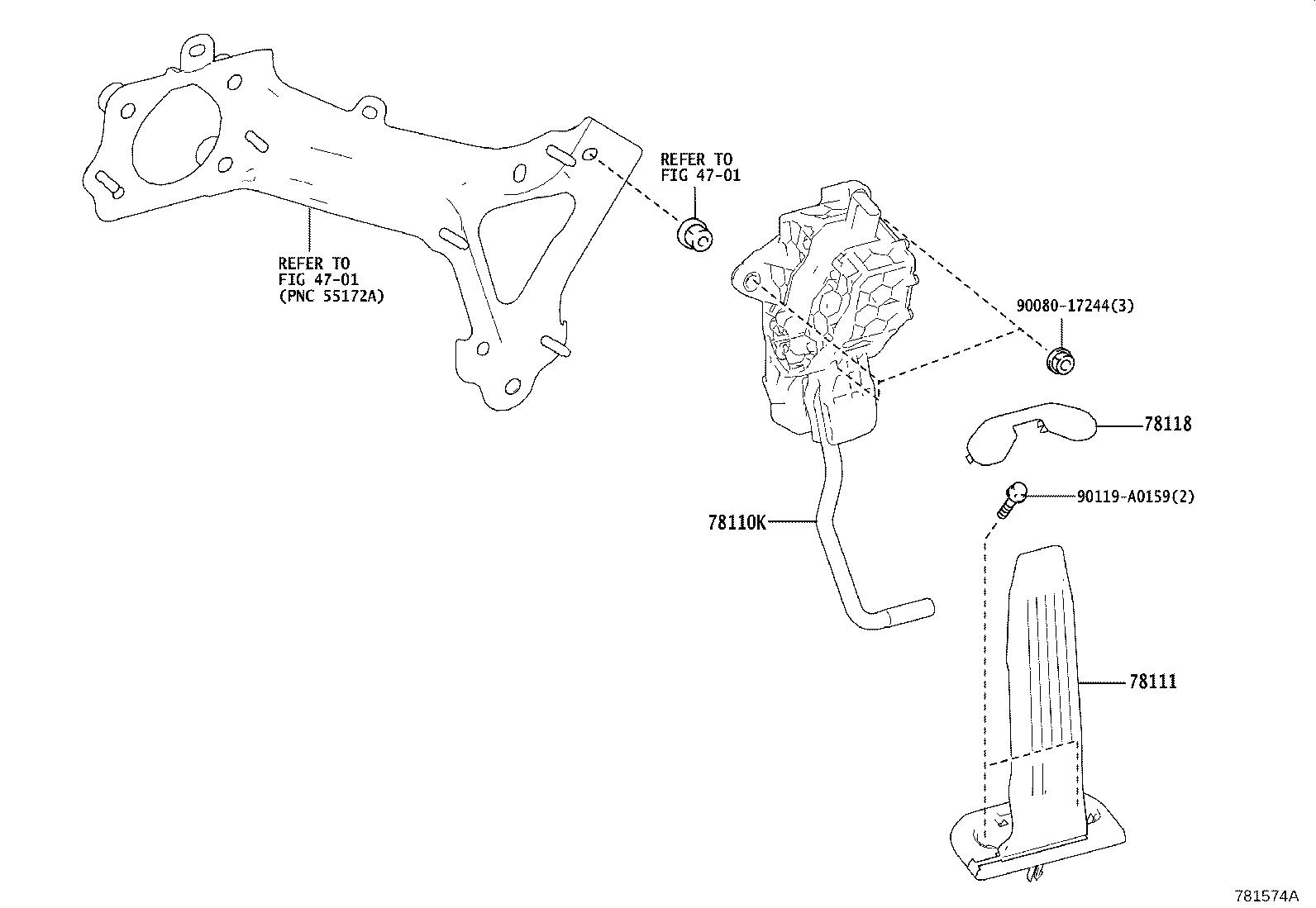 Toyota Camry Pedal Pedal Assembly Accelerator Body