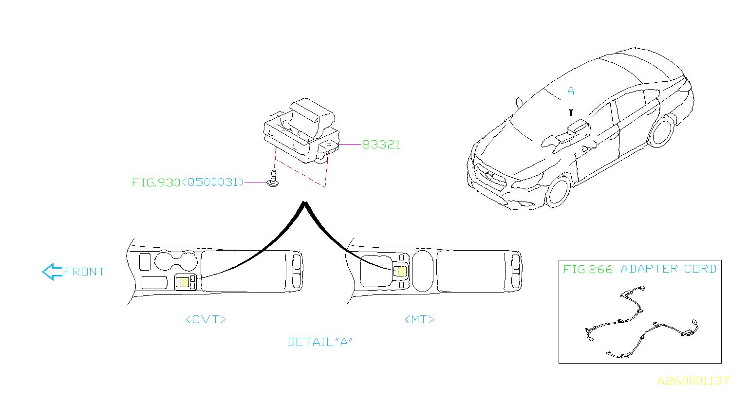 Subaru Legacy Switch Assembly Hand Brake Parking System