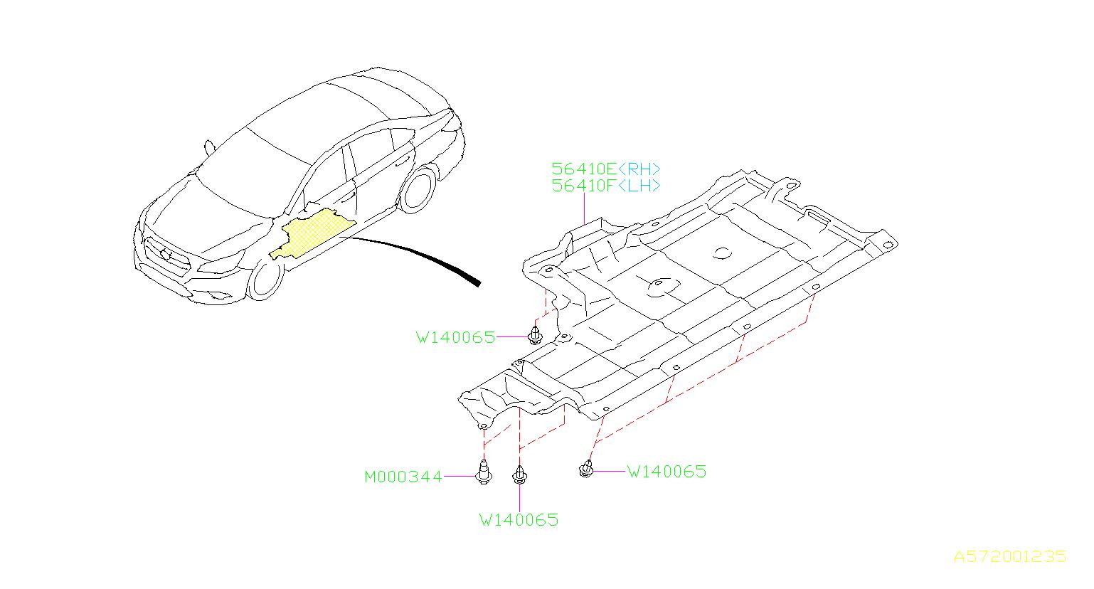 Subaru Legacy Under Cover Center Left Exhaust Body
