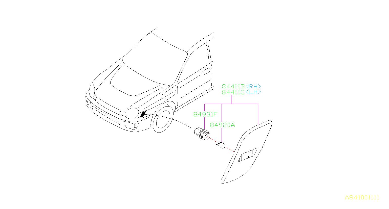 Subaru Impreza Socket Complete Side Turn Lamp Front