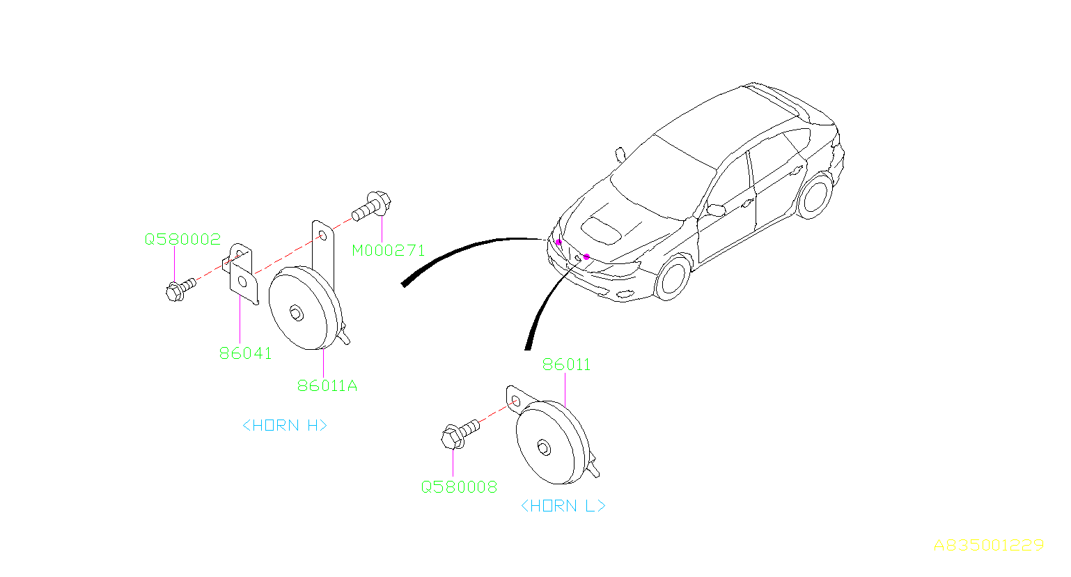 Subaru Impreza Horn Assembly Low Electrical Body Speed