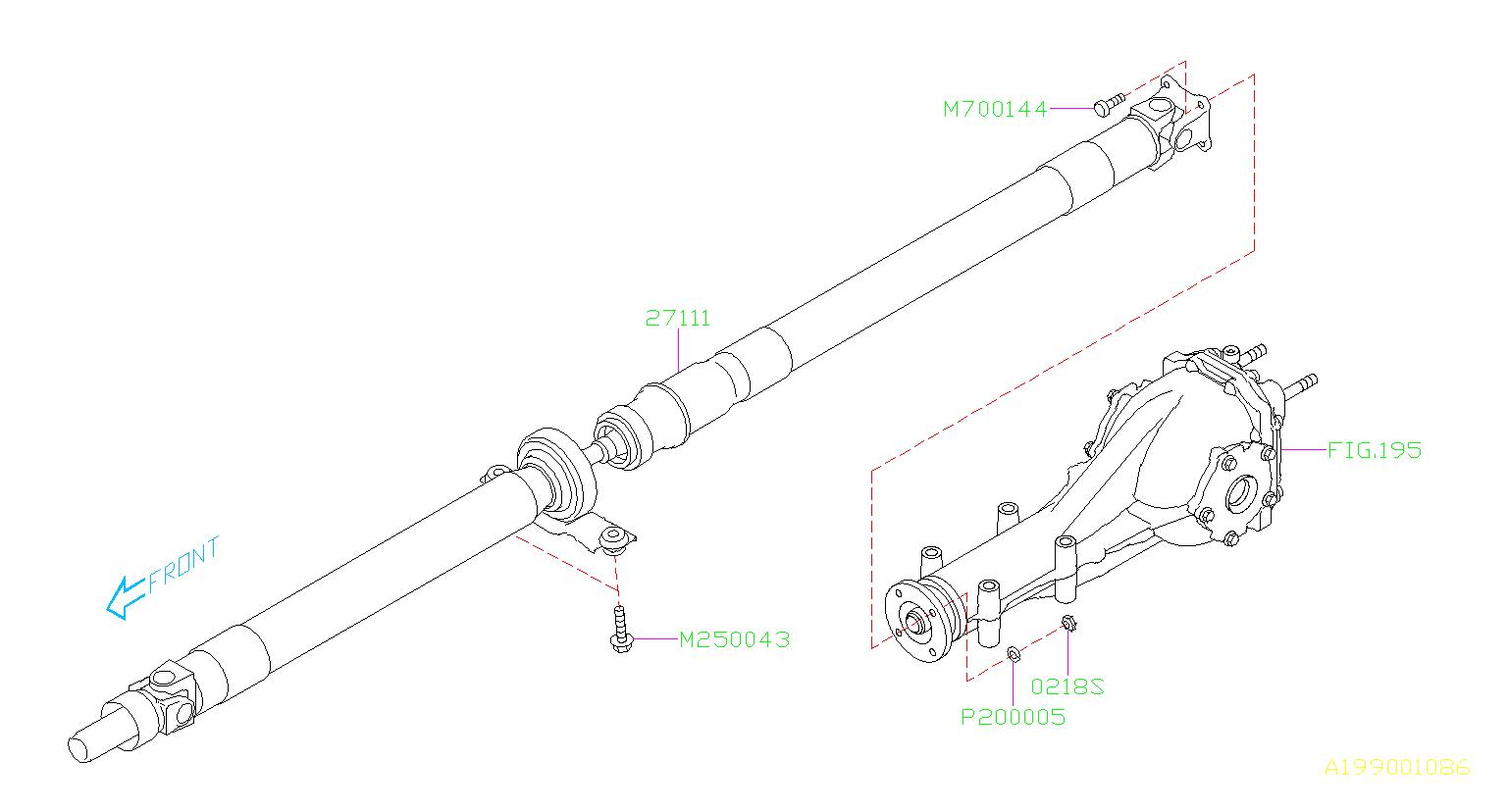 Subaru Impreza Propeller Shaft Assembly Driveline