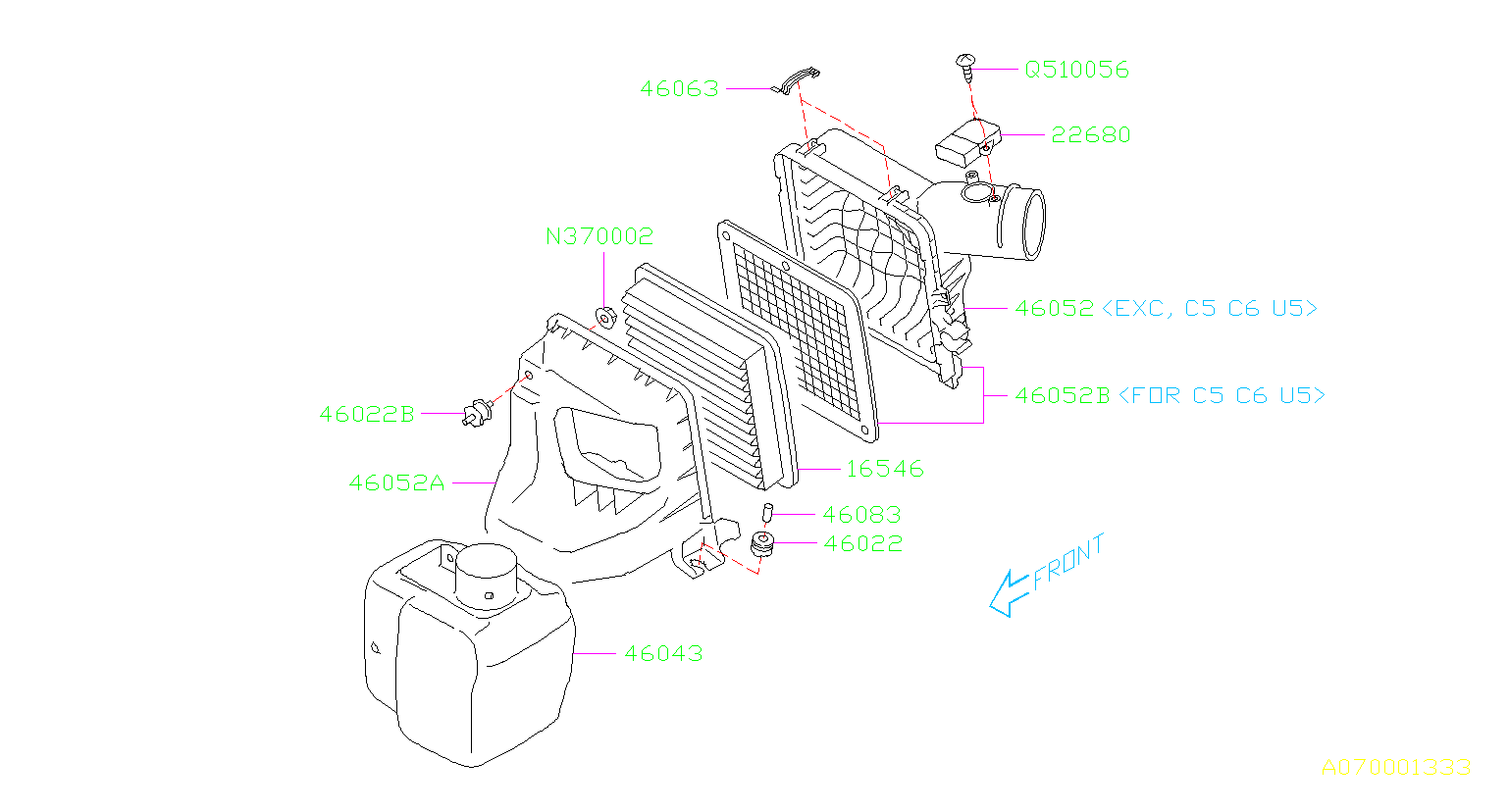Subaru Forester Engine Air Intake Resonator Used To