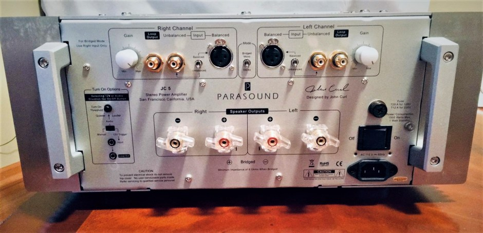 back panel of the parasound halo amplifier