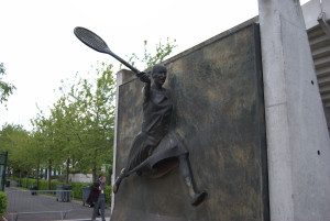 Statue of Suzanne Lenglen, outside the show court named for her. She won 31 championships in the 1930s and was the first female tennis celebrity.