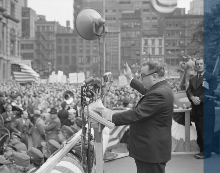 Mayor Fiorello LaGuardia leads a rally in New York