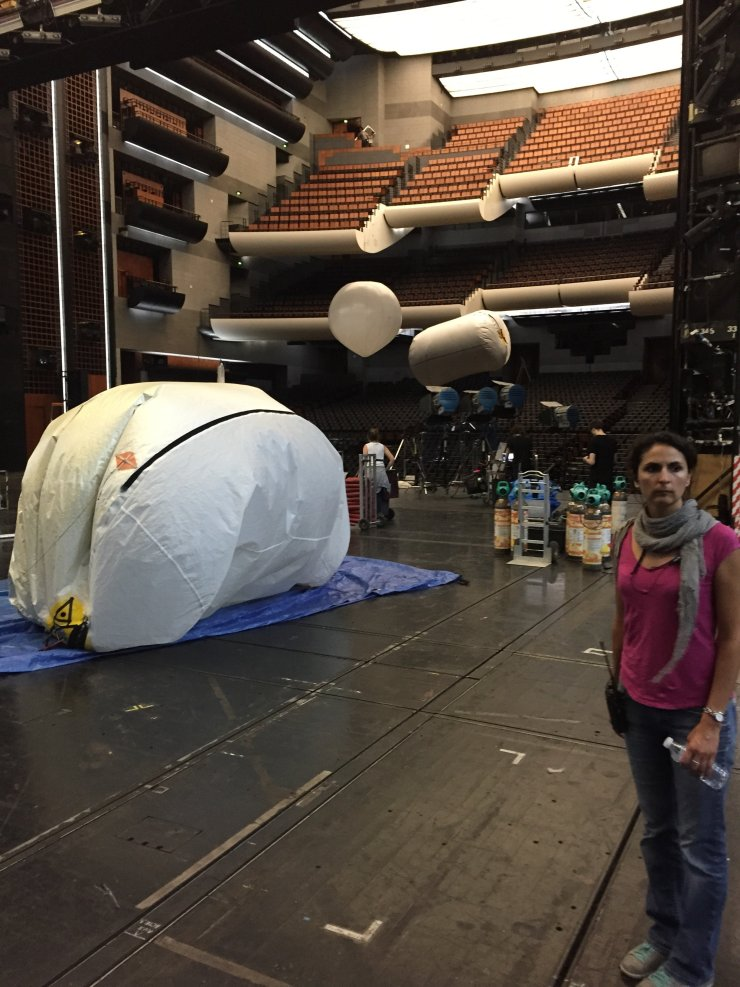 Lighting balloon on stage with Fanny after the final shoot in the top balcony at rear