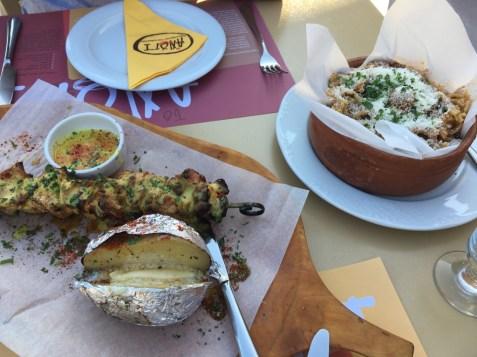 Pork Souvlaki and Roast Beef Pasta at Anogi