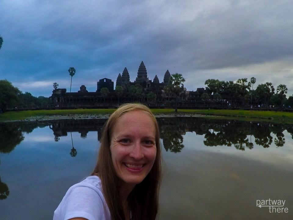 Amanda Plewes at sunrise in Angkor Wat in Cambodia.