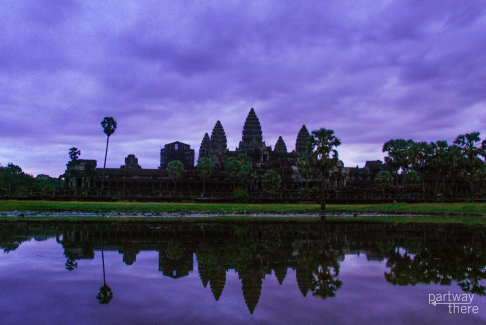 Purple sunrise at Angkor Wat in Cambodia