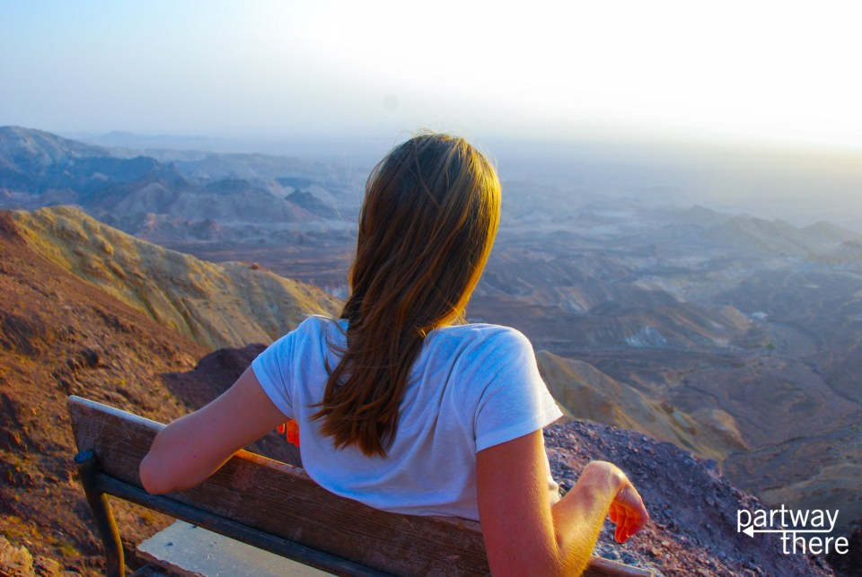 Amanda Plewes looking at the landscapes around the Dead Sea