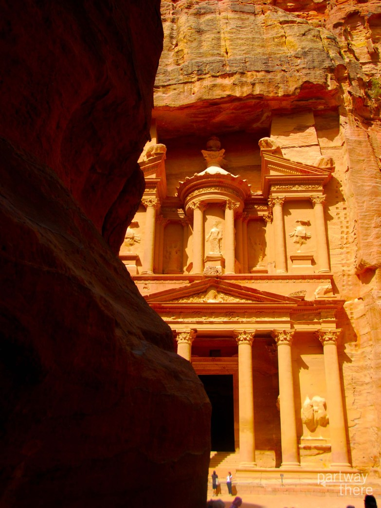 The Petra Treasury as seen from the Siq