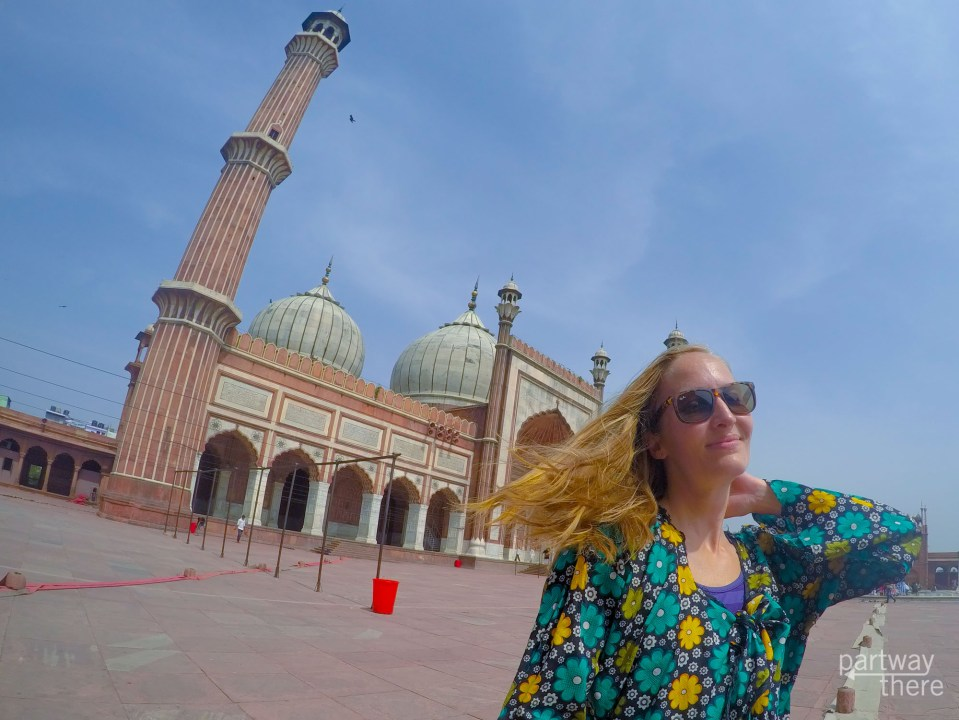 Amanda Plewes at a giant mosque in Delhi
