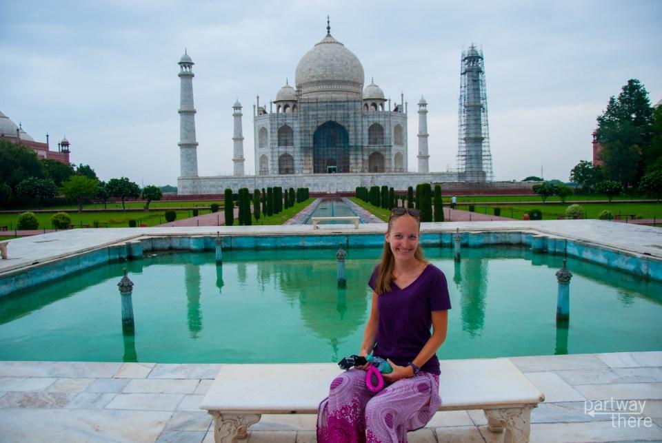 Amanda Plewes on the Diana Bench at the Taj Mahal