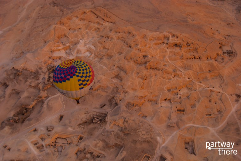 Looking down at the Valley of the Kings from a hot air balloon