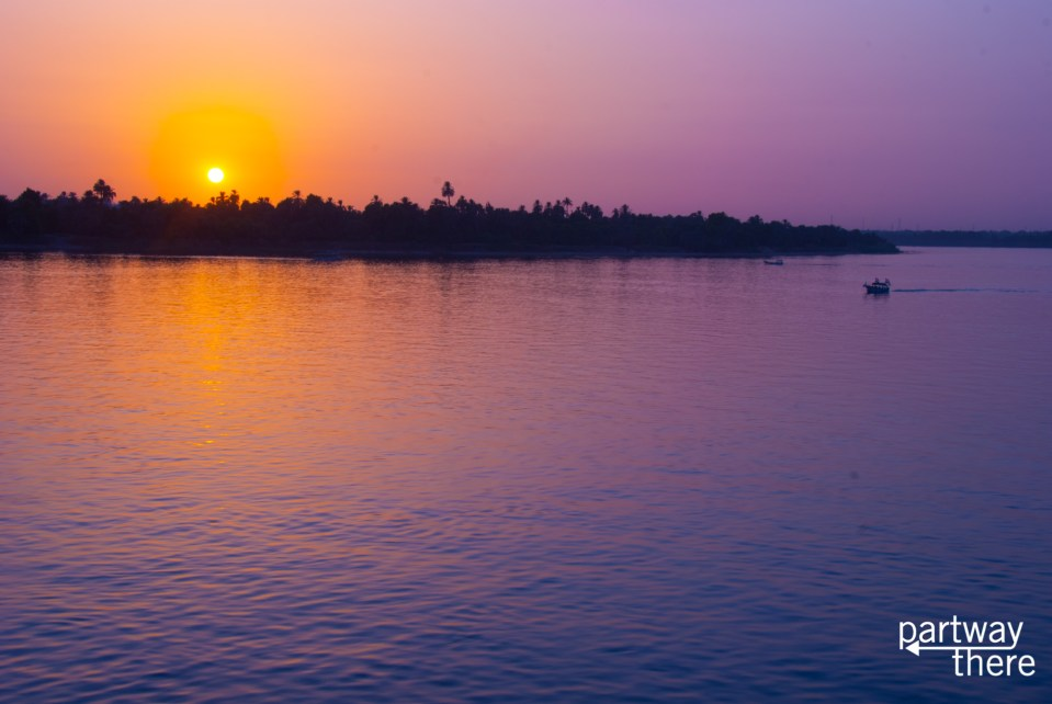The Nile River in Egypt at sunset