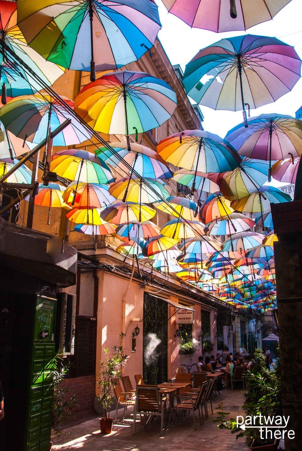 Rainbow umbrella alley in Bucharest