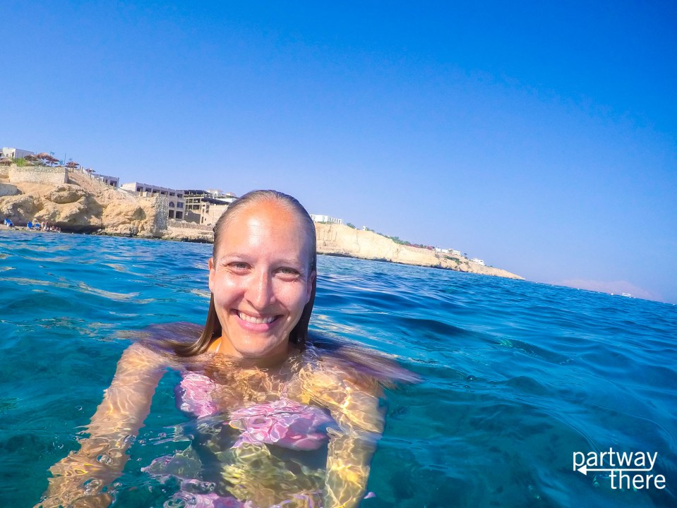 Amanda Plewes swimming in the Red Sea in Egypt