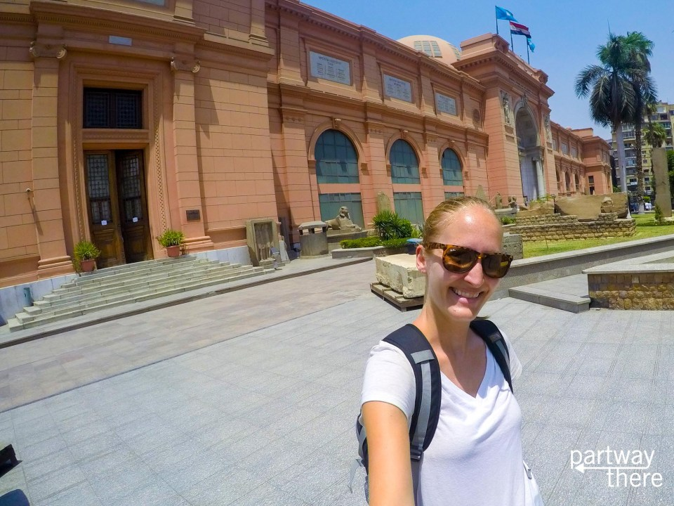 Amanda Plewes outside the Egyptian Museum in Cairo