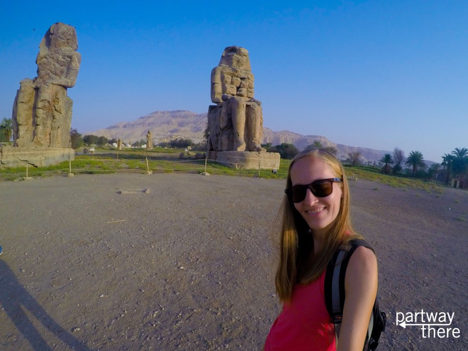 Amanda Plewes at the Colossi of Memnon