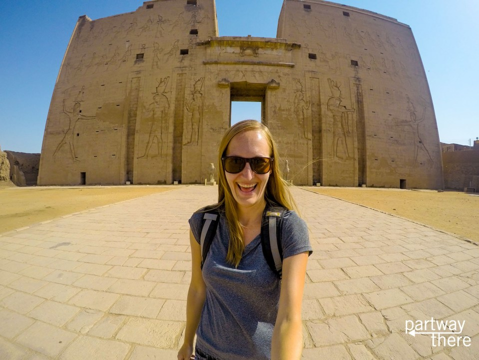 Amanda Plewes outside Edfu temple in Egypt