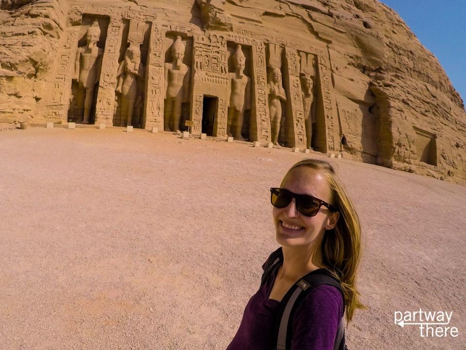 Amanda Plewes outside the temple to Nefertari at Abu Simbel, Egypt
