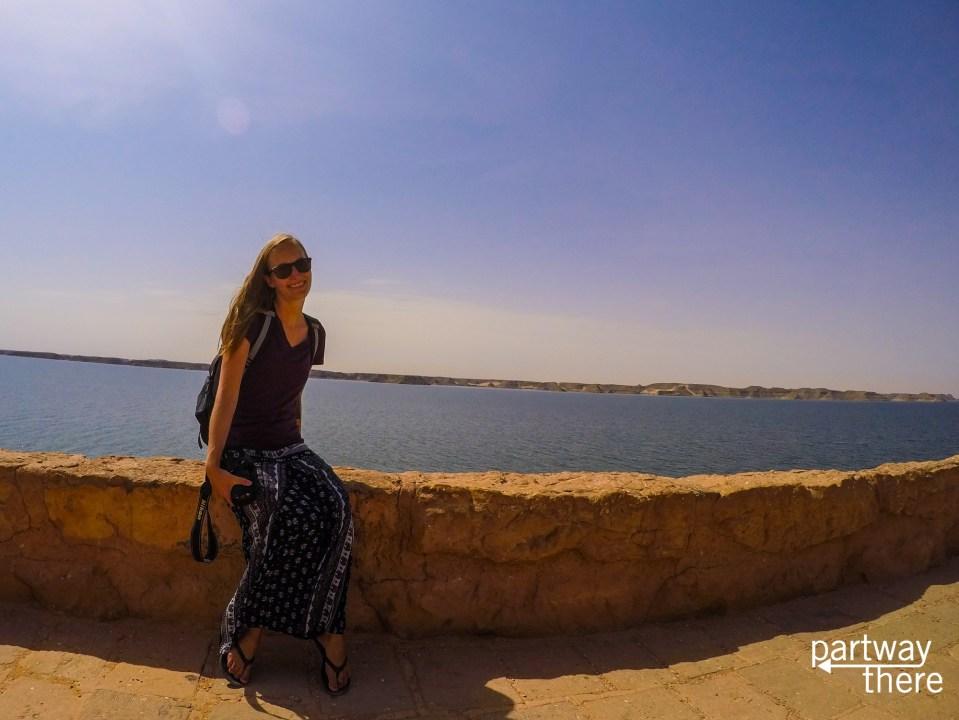 Amanda Plewes on the shores of Lake Nasser at Abu Simbel