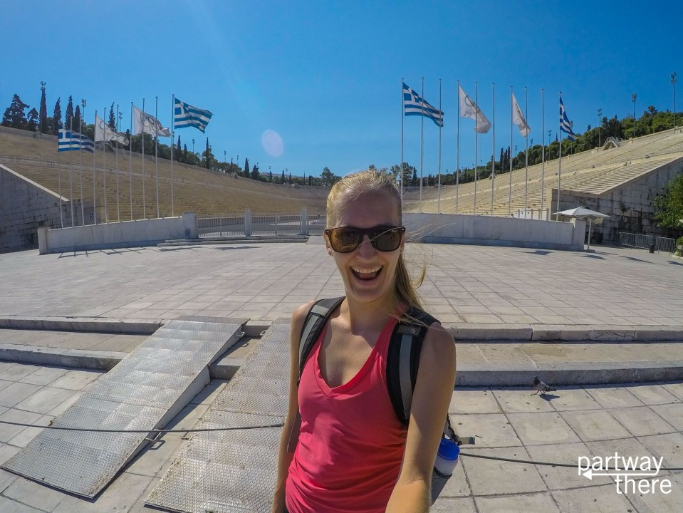 Amanda Plewes at the original Olympic Stadium in Athens