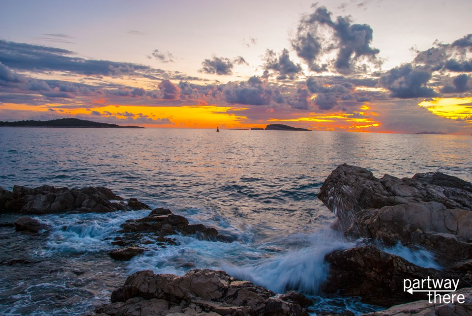 Sunset over the water in Cavtat, Croatia