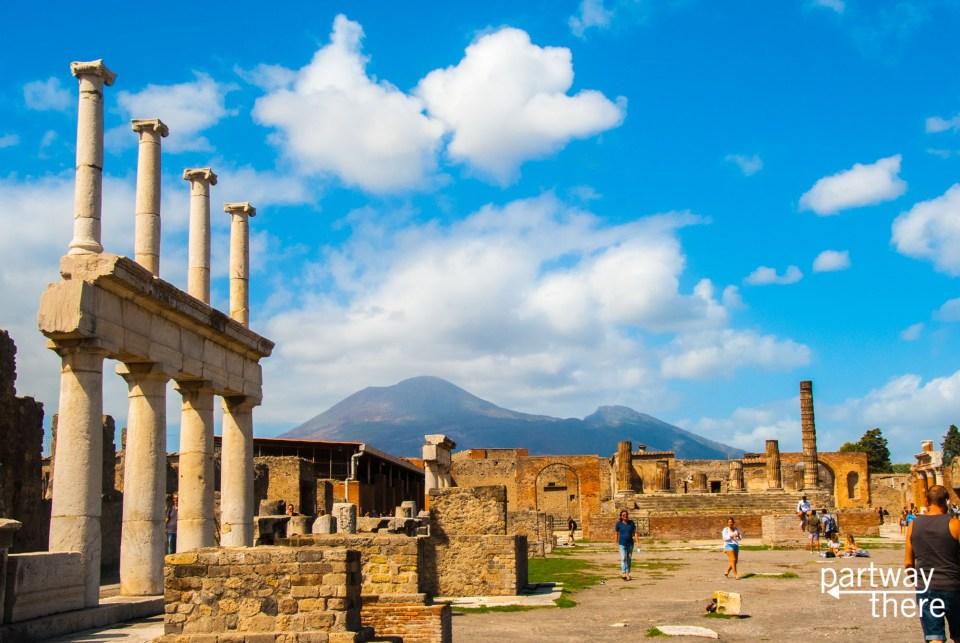 Pompeii ruins with Mount Vesuvius in the background in Naples, Italy.