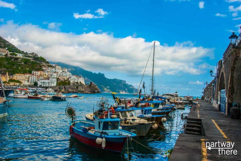 Boats docked in Amalfi