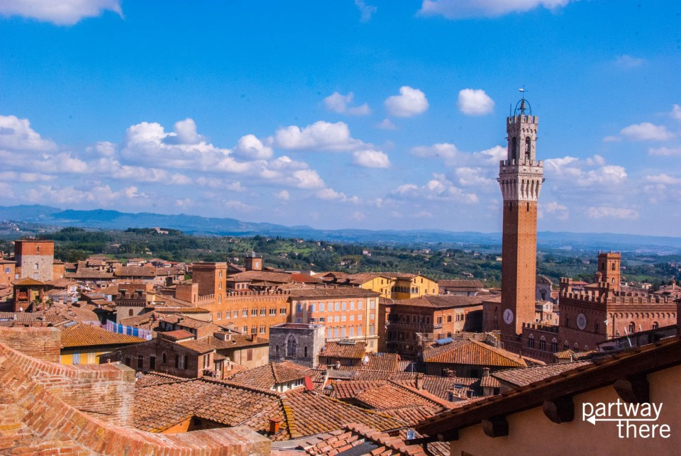 View of Siena and Tuscany from top of Siena Duomo