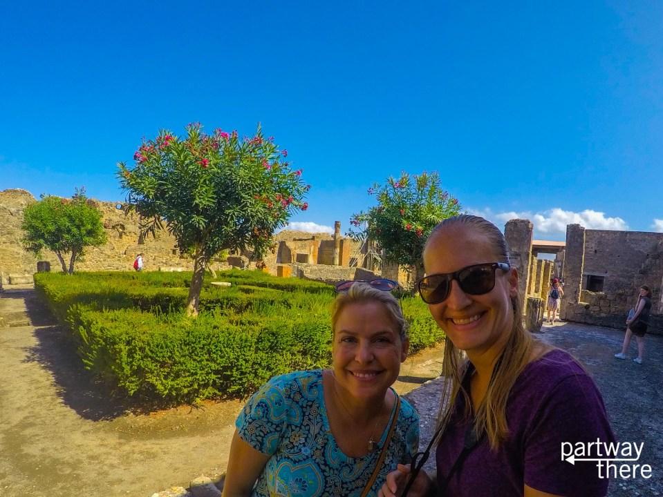 Friends exploring the Pompeii ruins near Naples, Italy