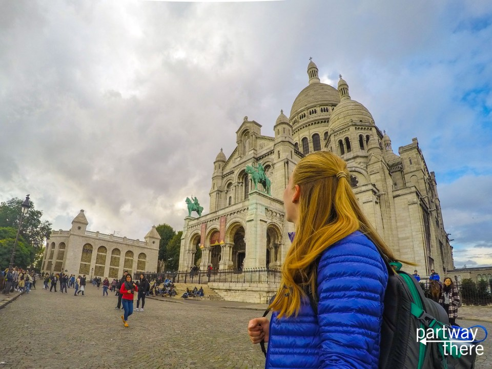 Amanda Plewes in front of the Sacre Couer in Paris, France