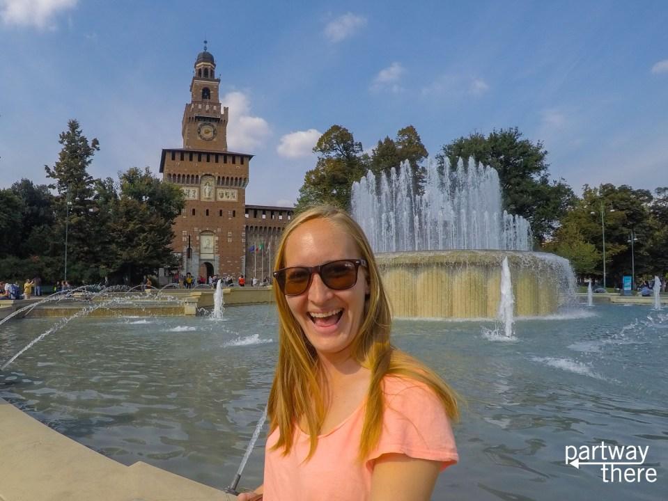 Amanda Plewes in front of Sforza Castle Milan