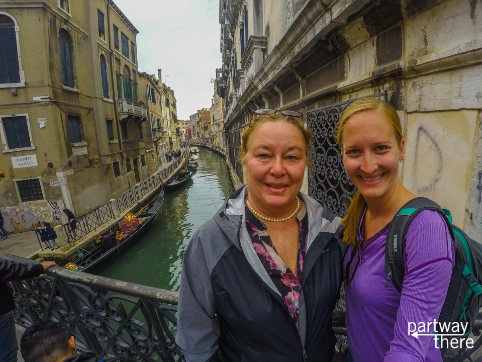Amanda Plewes and Donna Plewes in front of a canal in Venice, Italy