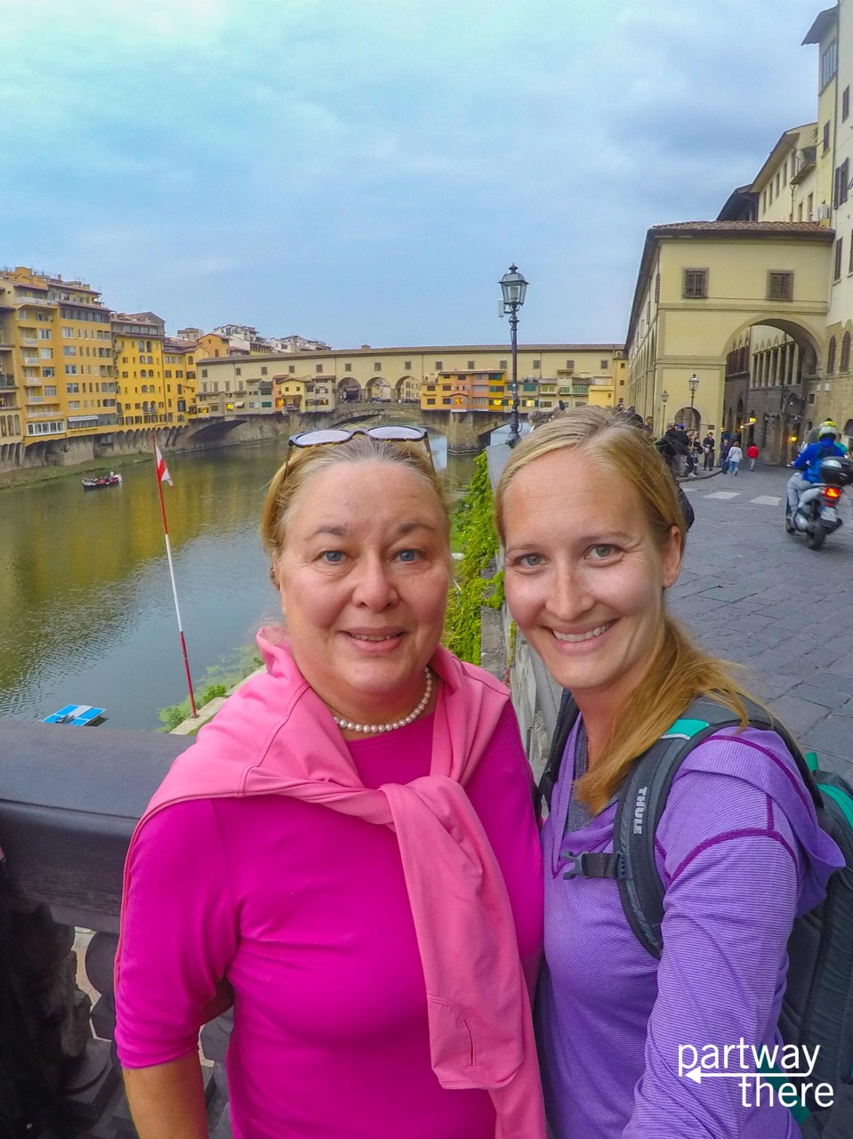 Amanda Plewes and Donna Plewes in front of the Ponte Vecchio in Florence, Italy