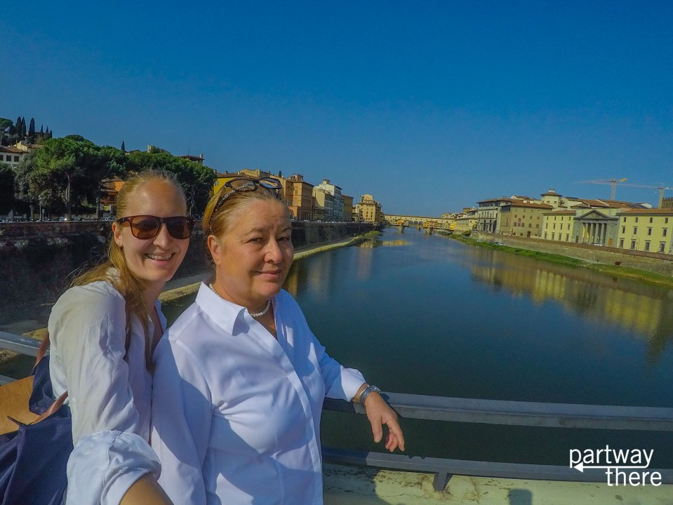 Donna Plewes and Amanda Plewes in front of the Ponte Vecchio