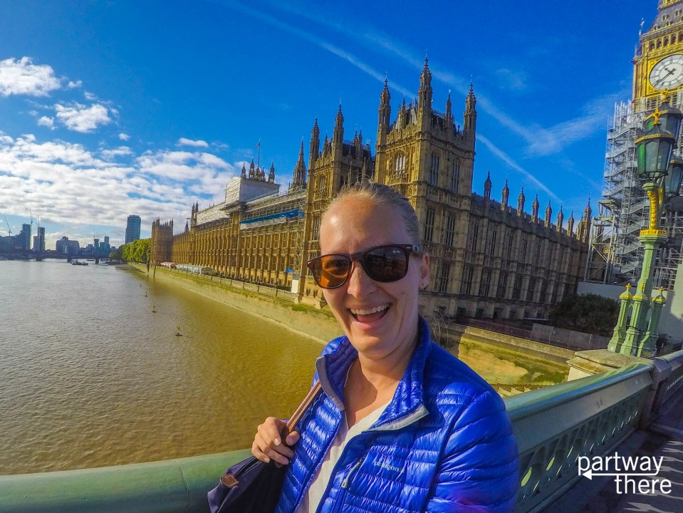 Amanda Plewes in front of Parliament and Big Ben in London