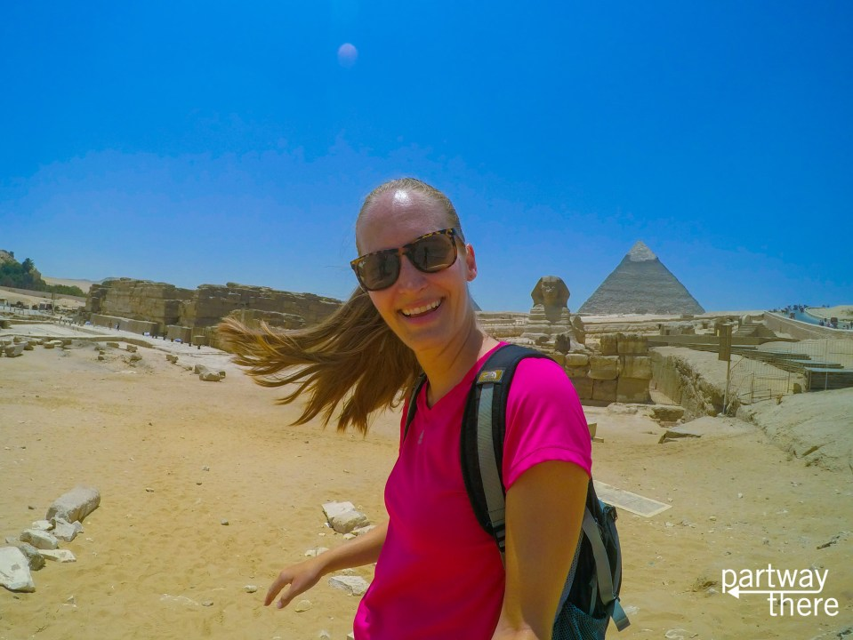 Amanda Plewes at the Pyramids in Egypt