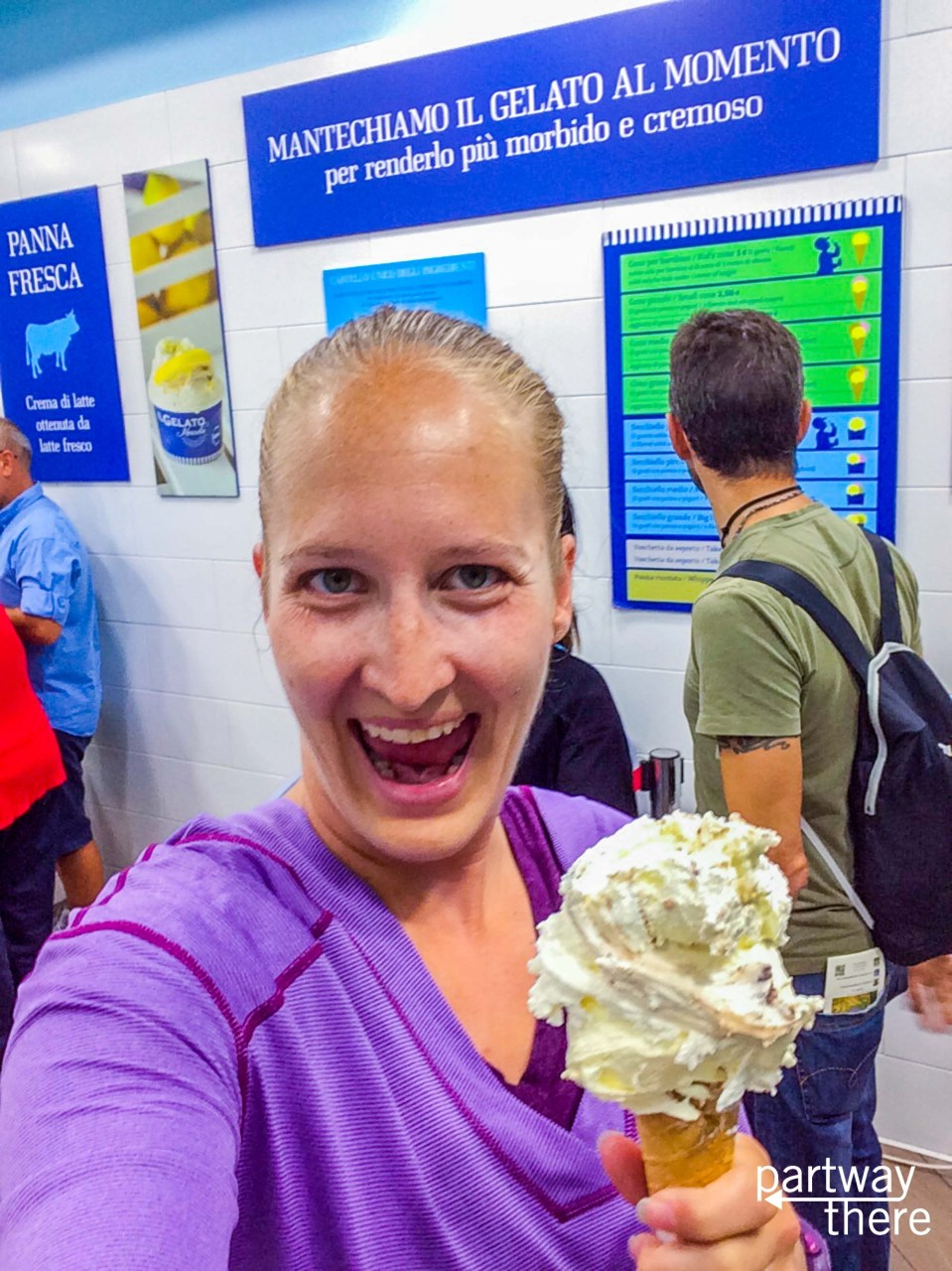 Amanda Plewes with a giant cone of Menella Rock and Almond gelato from Menella in Naples, Italy
