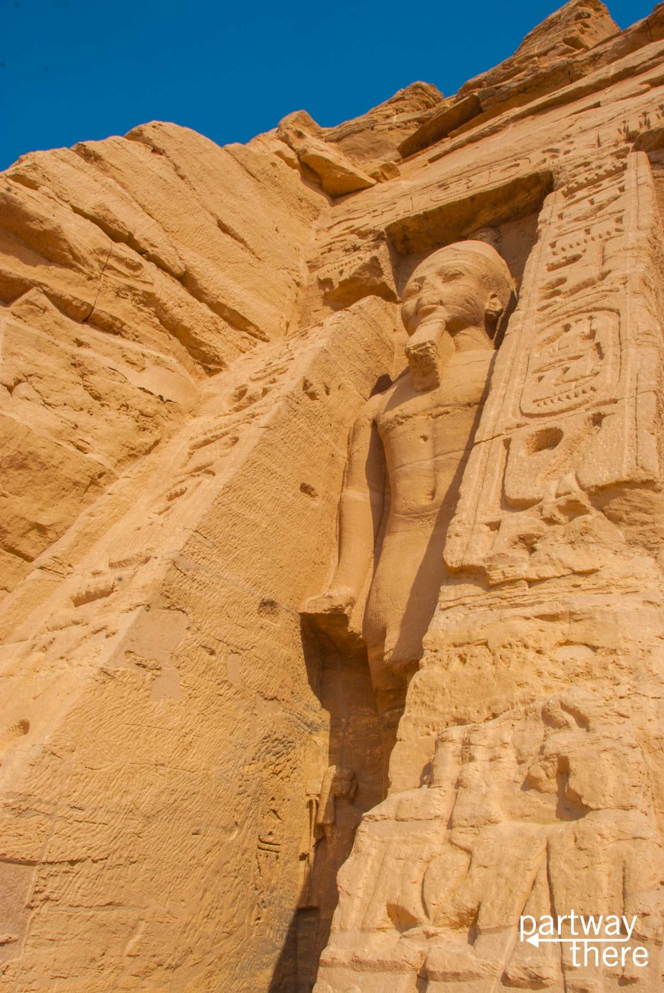 A statue outside the temple of Nefertari at the Abu Simbel temple complex in Egypt