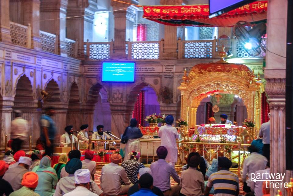 Inside of Gurudwara Sis Ganj Sahib in Delhi, India