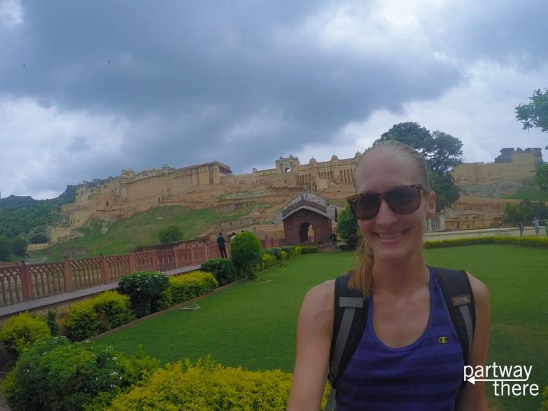 Amanda Plewes outside a fort in Jaipur